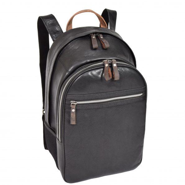 Large Multipurpose Leather Backpack HOL555 Black