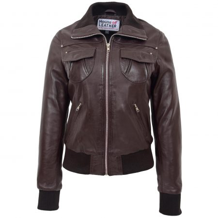 Womens Leather Classic Bomber Jacket Motto Brown