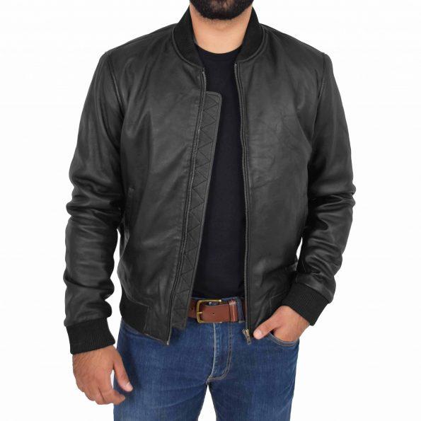 Mens Leather MA-1 Bomber Jacket Ryan Black