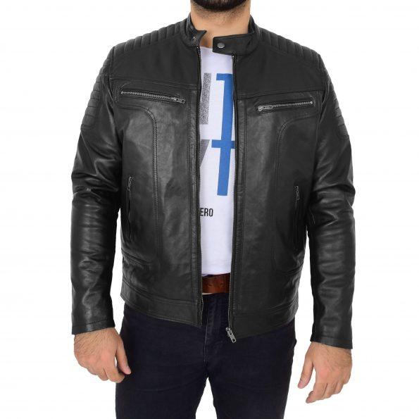 Mens Biker Style Jacket Eddie Black