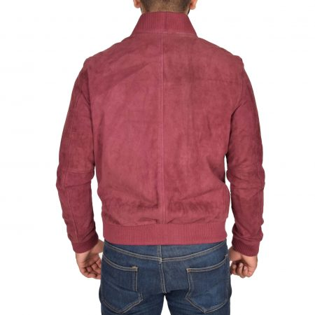 Mens Suede MA-1 Bomber Jacket Trevor Red