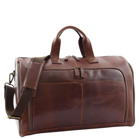 Genuine Leather Travel Holdall Overnight Bag HL015 Brown