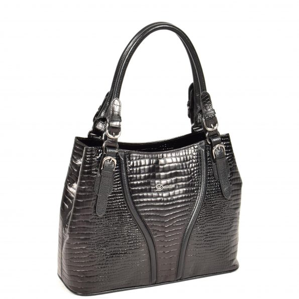 Womens Croc Print Leather Handbag H322 Black