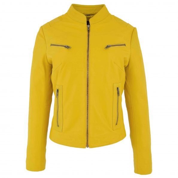 Womens Leather Standing Collar Jacket Becky Yellow