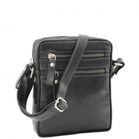 Mens Leather Cross Body Flight Bag Belgrade Black