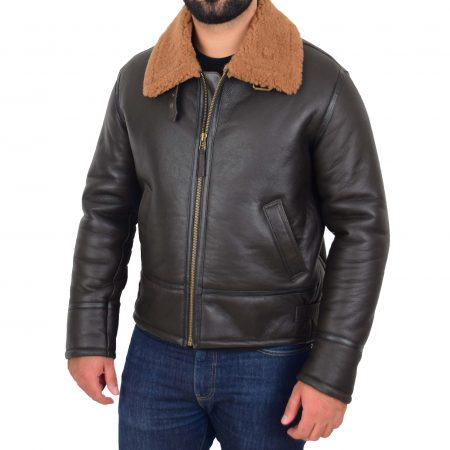Mens Top Gun Style Sheepskin Jacket Oscar Brown Ginger