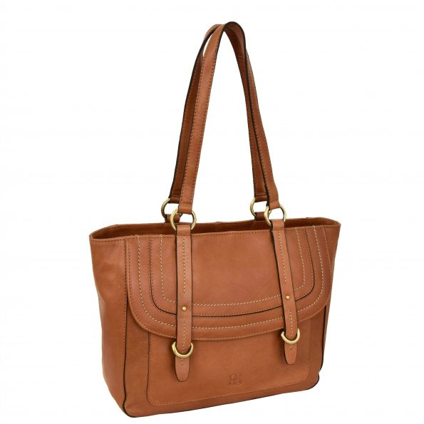 Womens Leather Classic Shopper Fashion Bag Sadie Tan