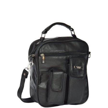 Leather Flight Bag with Grab Handle HOL754 Black