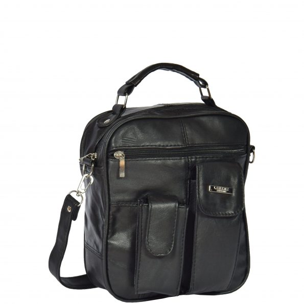 Leather Flight Bag with Grab Handle HOL754 Black