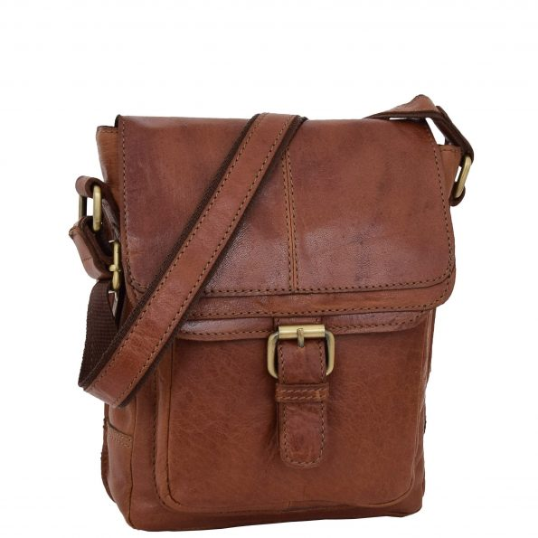 Mens Leather Cross Body Flight Bag Oldenburg Tan