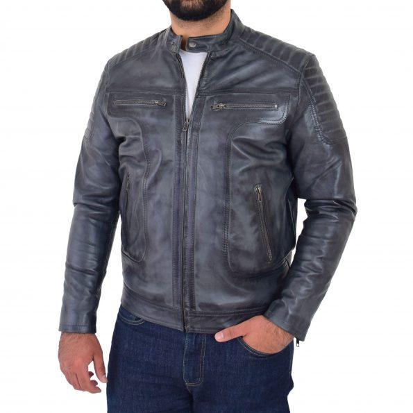 Mens Leather Biker Style Zip Jacket Eddie Grey Two Tone