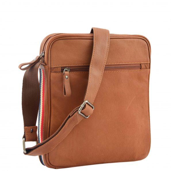 Mens Leather Cross Body Travel Flight Bag Aller Tan