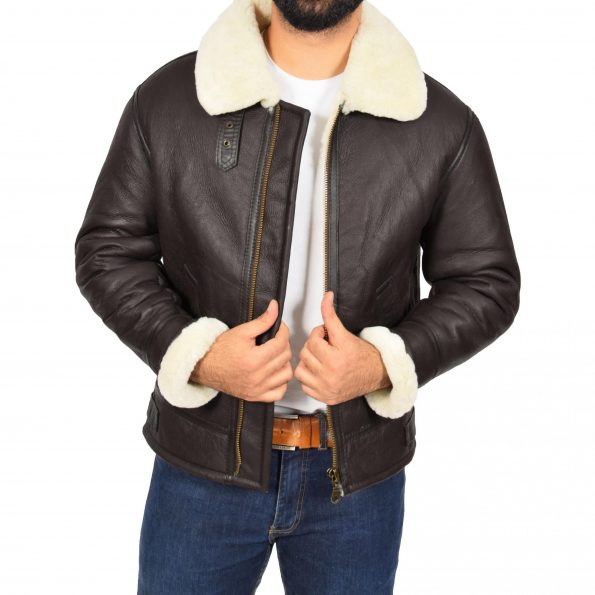 Mens Top Gun Style Sheepskin Jacket Oscar Brown White