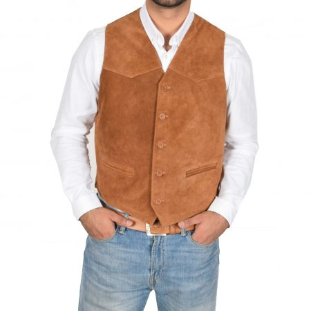 Mens Suede Button Fastening Waistcoat Don Tan