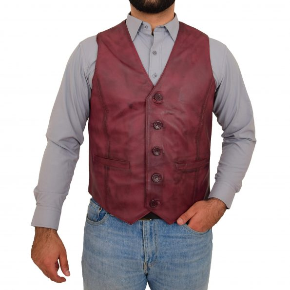 Mens Button Fastening Leather Waistcoat Nick Burgundy