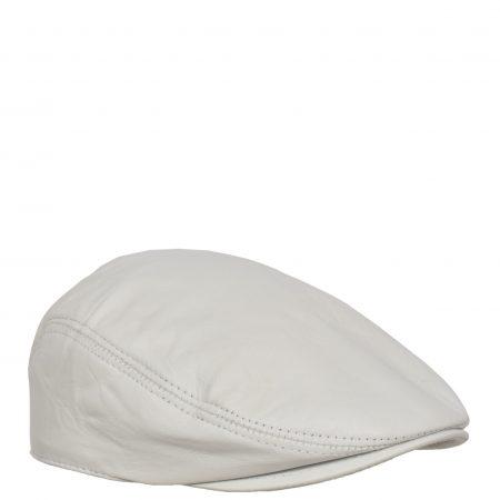 Soft Leather Classic Flat Cap White