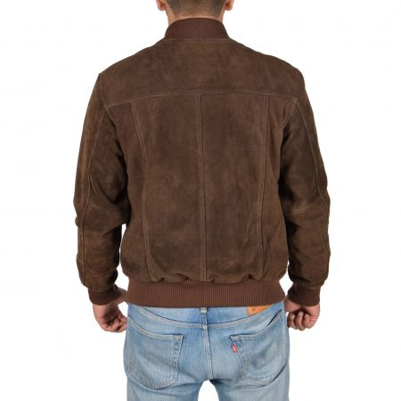 Mens Suede Bomber Varsity Jacket Reg Brown