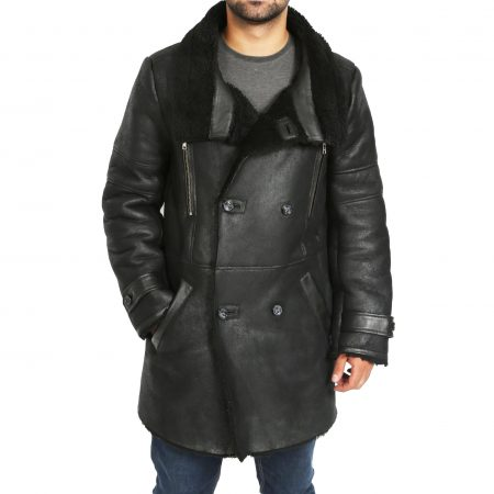 Mens Double Breasted Sheepskin 3/4 Length Coat Bryan Black
