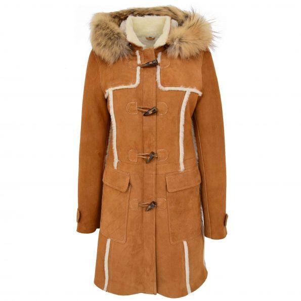 Womens Sheepskin Duffle Coat 3/4 Length Parka Beth Tan White