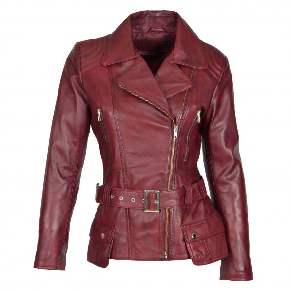 Womens Leather Hip Length Biker Jacket Celia Burgundy