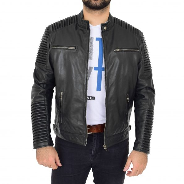 Mens Casual Soft Leather Biker Jacket Nelson Black