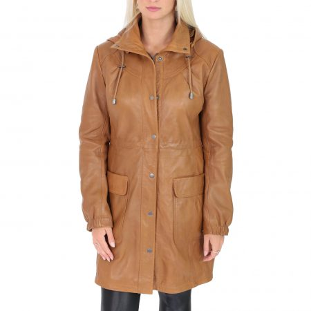 Womens 3/4 Length Leather Duffle Coat Kyra Tan