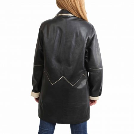 Womens Leather 3/4 Length Coat Margaret Black Beige