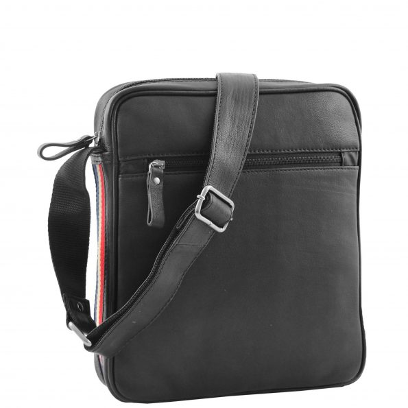 Mens Leather Cross Body Travel Flight Bag Aller Black