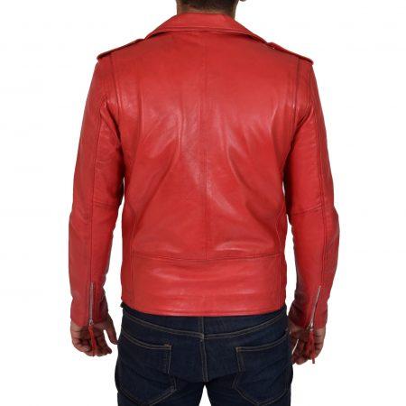 Mens Leather Biker Jacket Brando Style Johnny Red