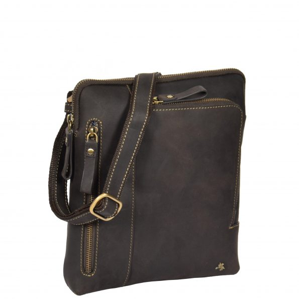 Mens Real Leather Tablet Shoulder Bag HOL64 Brown