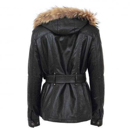 Womens Leather Coat with Detachable Hoodie Daisy Black