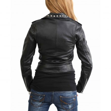 Womens Leather Studded Brando Style Jacket Salma Black