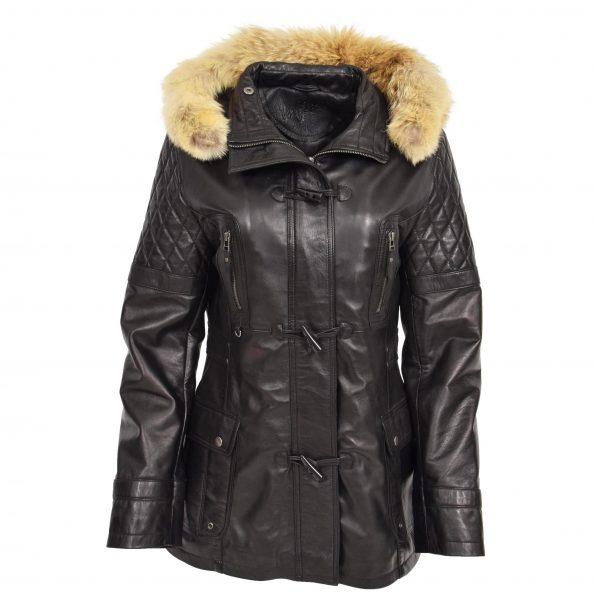 Women's Original Duffle Style Leather Coat