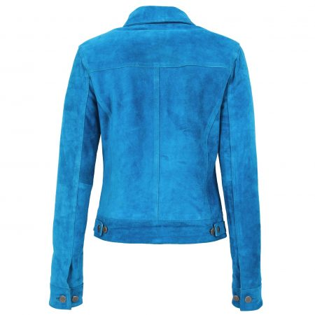Womens Soft Suede Trucker Style Jacket Alma Teal Blue