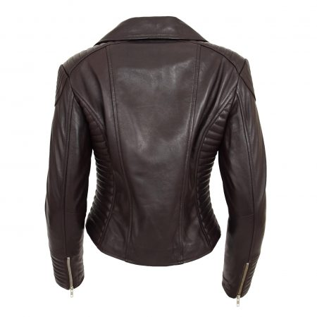 Womens Soft Leather Cross Zip Biker Jacket Anna Brown