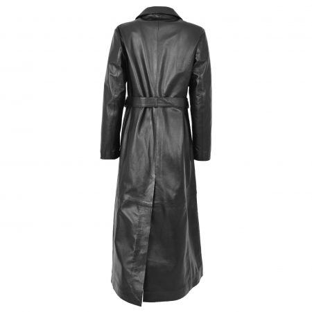 Womens Leather Full Length Classic Coat Gabbie Black