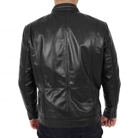 Mens Casual Biker Leather Jacket Jaime Black