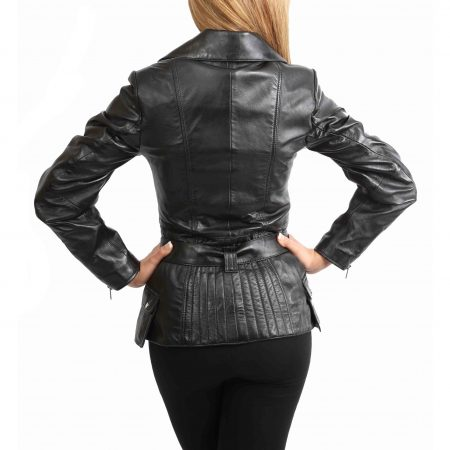 Womens Leather Hip Length Biker Jacket Celia Black