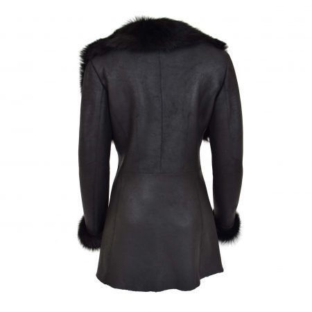 Womens 3/4 Length Sheepskin Coat with Toscana Trim Lucy Black