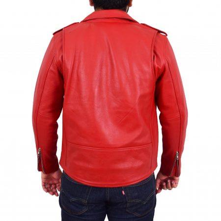 Mens Heavy Duty Leather Biker Brando Jacket Kyle Red