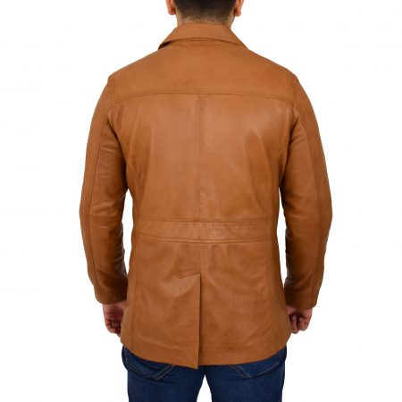 Mens Leather Reefer Buttoned Blazer Jacket Derek Tan