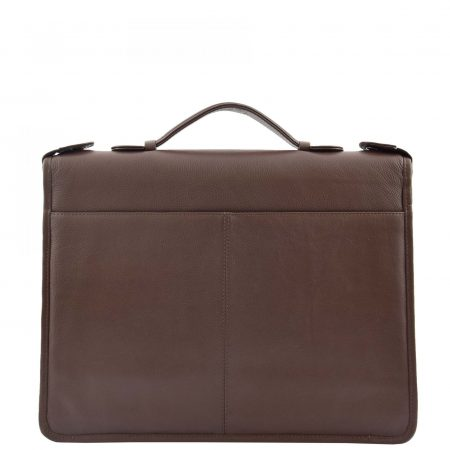 Real Leather Portfolio Case with Carry Handle HL49 Brown