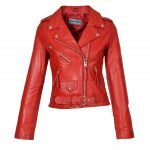 Womens Real Leather Biker Brando Style Jacket Mia Red