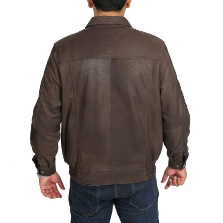 Mens Bomber Leather Jacket Classic Style Jim Brown Nubuck