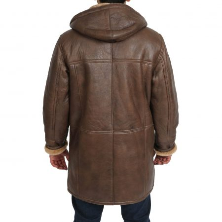 Mens Real Sheepskin Duffle Coat Bain Brown Ginger
