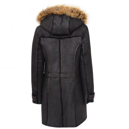 Womens Sheepskin Duffle Coat 3/4 Length Parka Beth Dark Brown