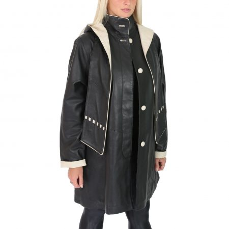 Womens Leather Classic Hooded Coat Debra Black Beige