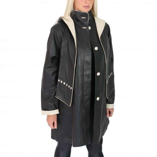 Womens Leather Classic Hooded Coat Debra Black Beige