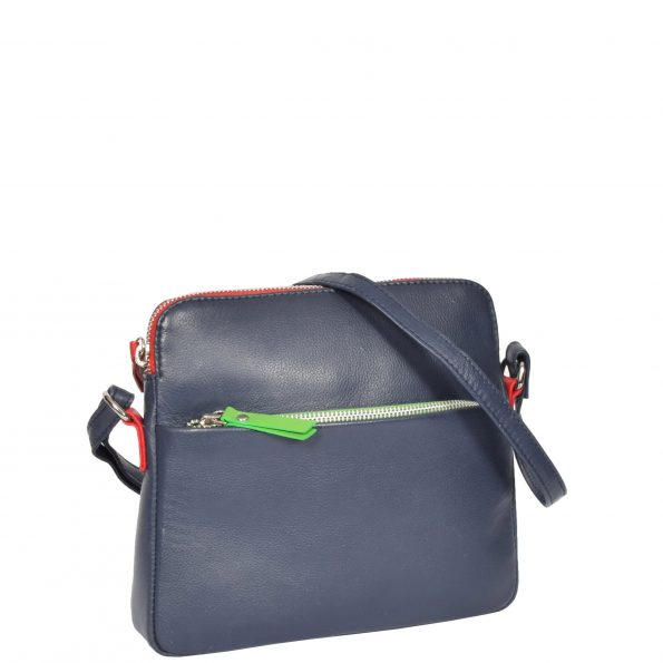 Womens Soft Leather Small Sling Bag Ellie Navy