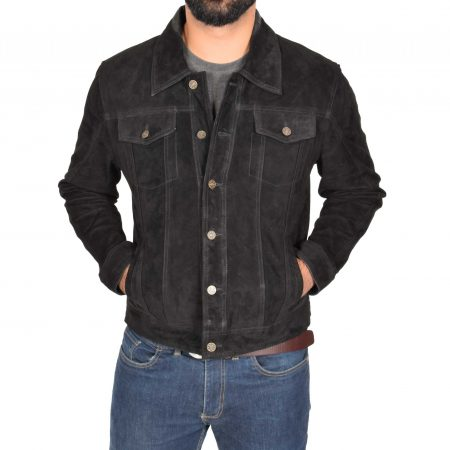 Mens Real Suede Trucker Harrington Jacket Daryl Black